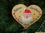 Father Christmas Please Stop Here Wooden Christmas Tree / Window Heart Hanger Decoration Unique OOAK